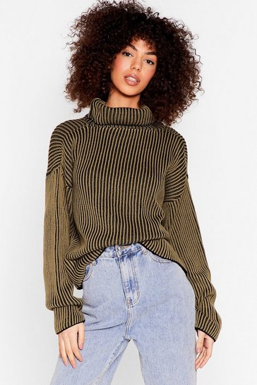 Olive Stripe and Wrong Turtleneck Relaxed Sweater