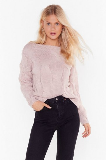 Womens Blush Twist My Words Boat Neck Sweater