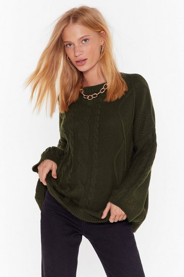 Womens Green Be Done With Knit Relaxed Sweater