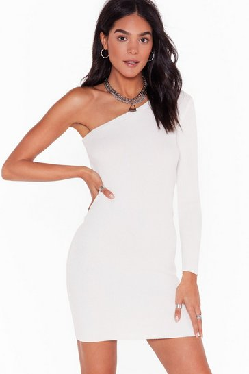 Cream Take Rib as Rib Comes One Shoulder Mini Dress