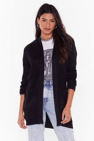Womens Black Knit's the One Longline Cardigan