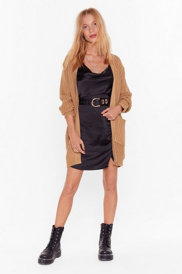Womens Camel Knit's the One Longline Cardigan