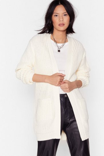 Womens Oatmeal Knit's the One Longline Cardigan