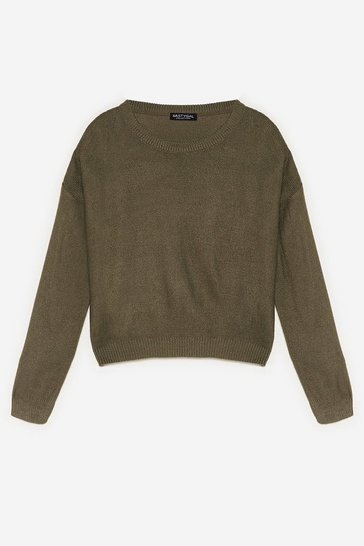 Khaki Never Crew How Much Knitted Sweater