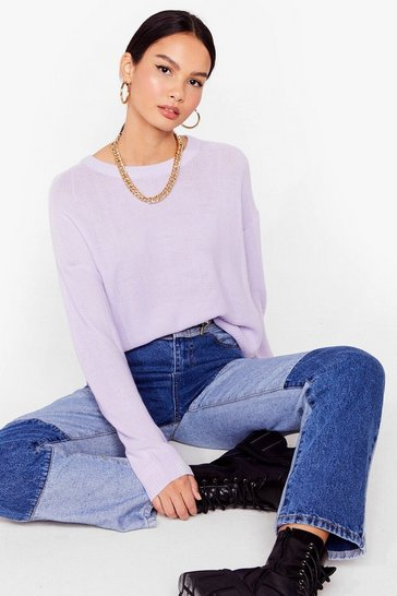 Lilac Never Crew How Much Knitted Sweater