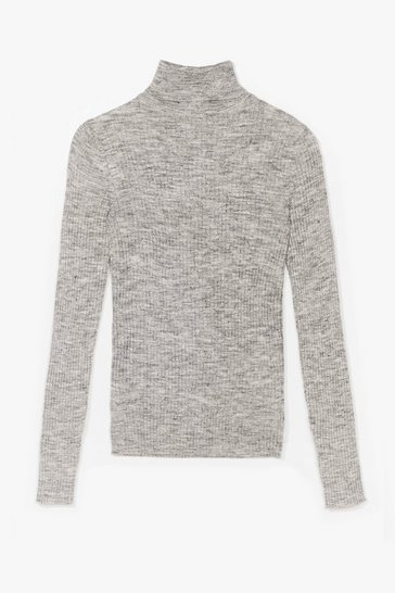 Grey Fine Gage Ribbed Roll Neck Jumper
