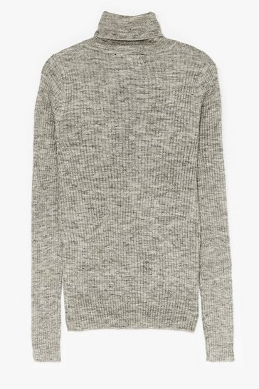 Silver grey Had Knit Up to Here Ribbed Turtleneck Sweater
