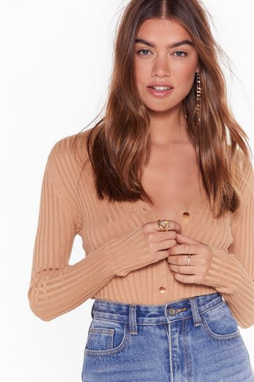 Camel You're Worth Knit Button-Down Ribbed Cardigan