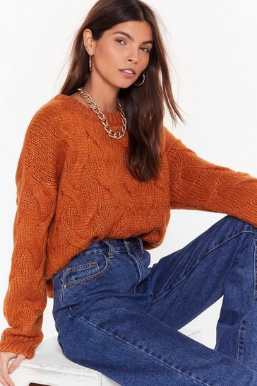 Womens Cinnamon Over My Head Cable Knit Sweater