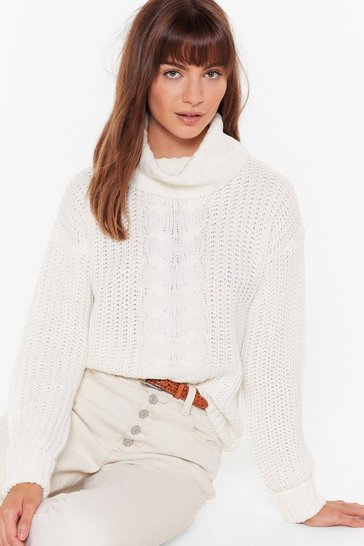 Womens Ivory Got Knit Good Cable Turtleneck Sweater