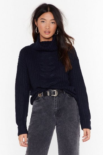 Womens Navy Got Knit Good Cable Turtleneck Sweater