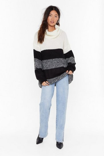 Womens Ecru Fall for Your Stripe Turtleneck Longline Sweater