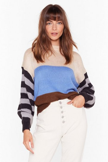 Womens Blue My Ideal Stripe Knit Drop Sleeve Sweater