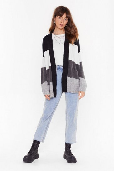 Black We've Seen Your True Colors Knit Longline Cardigan