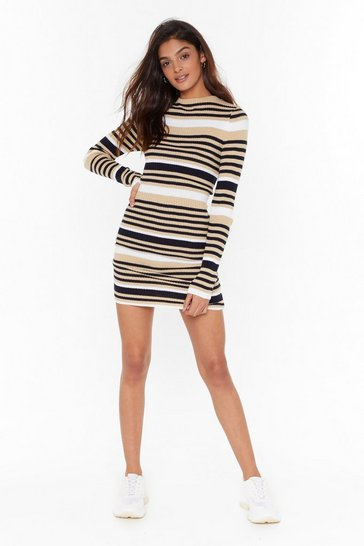 Camel Found the Stripe One Knitted Mini Dress