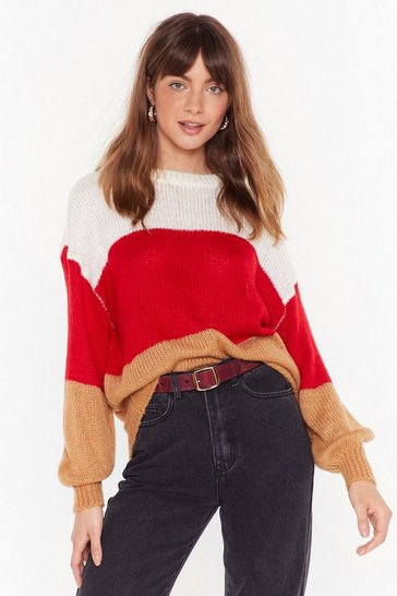Red Stripe Back at You Crew Neck Sweater