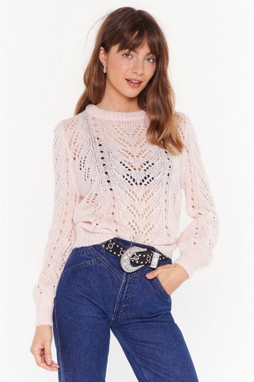 Womens Pink Your Pointelle is Crew Neck Sweater