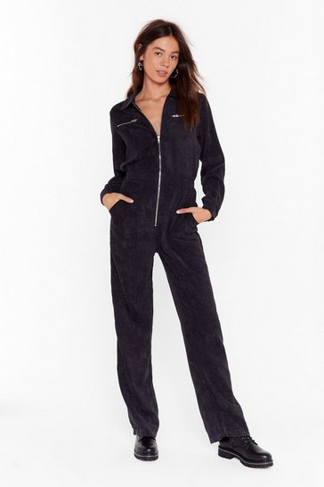 Womens Black Cord Out Relaxed Corduroy Boilersuit
