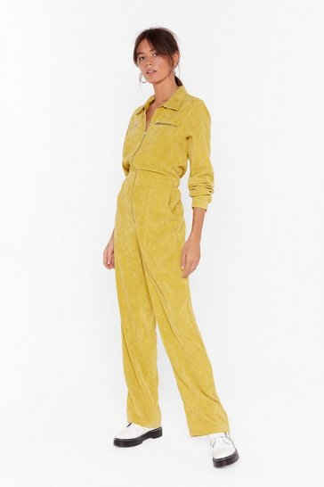 Womens Yellow Cord Out Relaxed Corduroy Boilersuit
