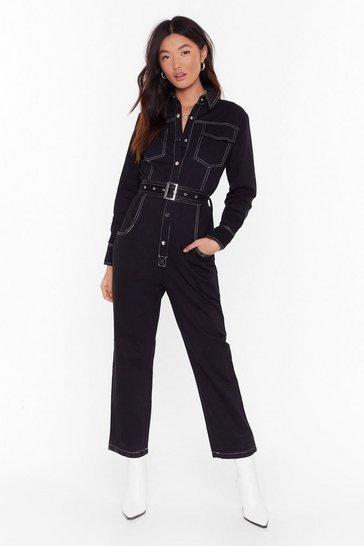 Black Bring Stitch On Denim Belted Boilersuit