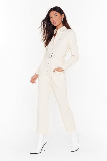 Womens Cream Bring Stitch On Denim Belted Boilersuit
