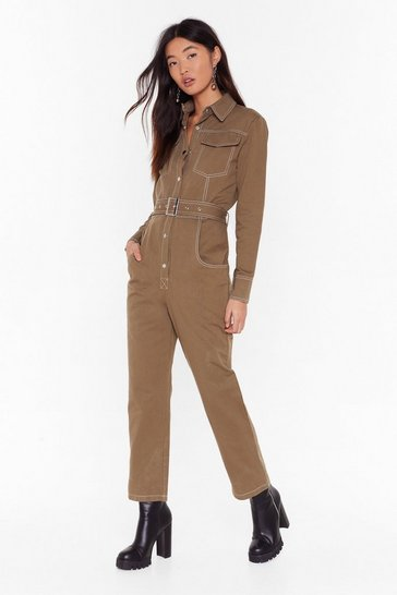 Khaki Bring Stitch On Denim Belted Boilersuit
