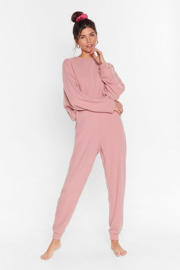 Womens Rose Recycled Let It Rest Sweater and Joggers Lounge Set