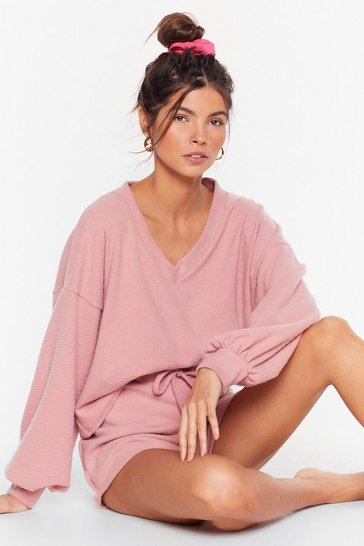 Rose Recycled Shall V Stay in Bed Sweater and Shorts Set