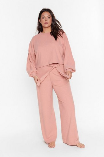 Grande Taille - Recyclé - Ensemble de confort côtelé sweat & pantalon La Flemme, Rose