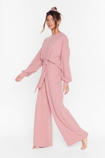 Rose Recycled Back at It Again Wide-Leg Lounge Set