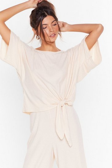 Cream Recycled Tie-ing to Chill Ribbed Culotte Lounge Set