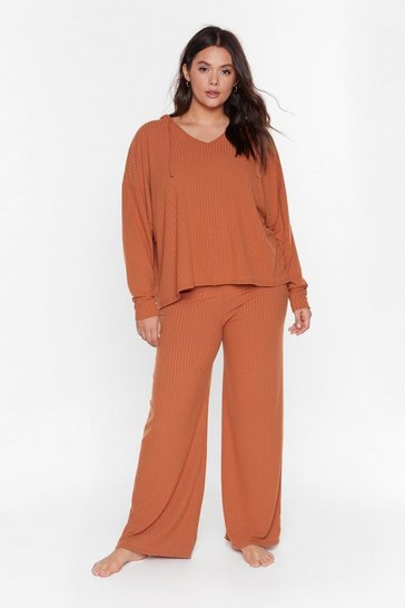 Tan Recycled Wind Down Plus Hoodie Lounge Set