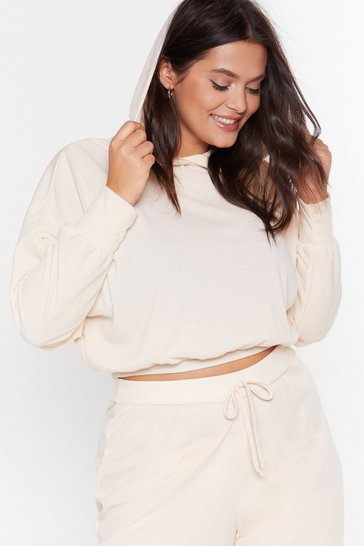 Cream Recycled Settle Back Plus Ribbed Hoodie Lounge Set