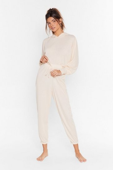 Cream Recycled Settle Back Ribbed Hoodie Lounge Set