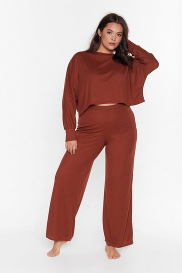Rust Recyced Time to Unwind Plus Wide-Leg Lounge Set