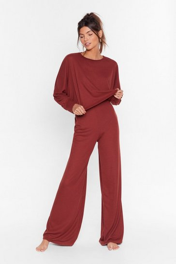 Womens Rust Recycled Time to Unwind Wide-Leg Lounge Set