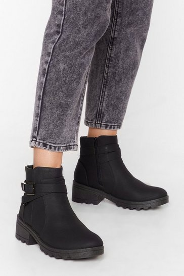 Black Buck is on Our Side Faux Leather Cleated Boots