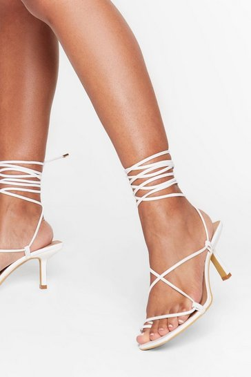 White Ankle tie pu square toe heels