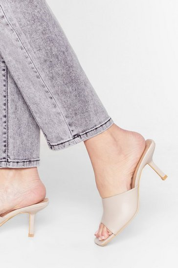 Beige Don't Mule It Over Faux Leather Stiletto Mules