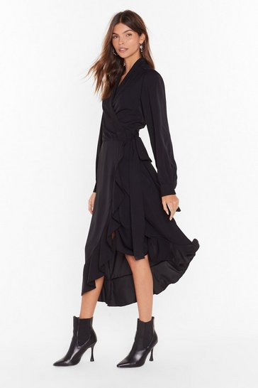 Womens Black Dressed to Frill Wrap Midi Dress