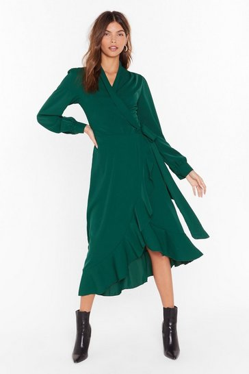 Womens Green Dressed to Frill Wrap Midi Dress