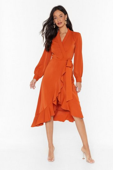 Womens Rust Dressed to Frill Wrap Midi Dress