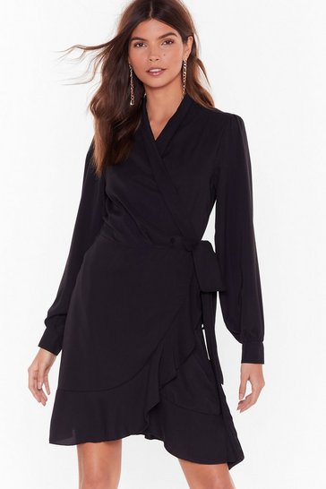 Womens Black Just Wrap It Up Ruffle Mini Dress