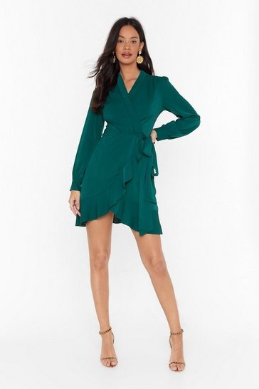 Green Just Wrap It Up Ruffle Mini Dress