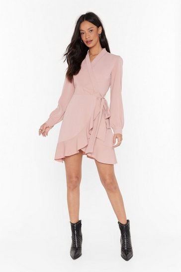 Womens Nude Just Wrap It Up Ruffle Mini Dress