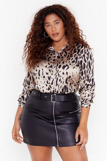 Womens Stone Dreams Run Wild Plus Leopard Shirt