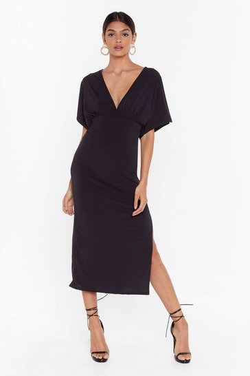 Black Always V Your Girl Slit Midi Dress