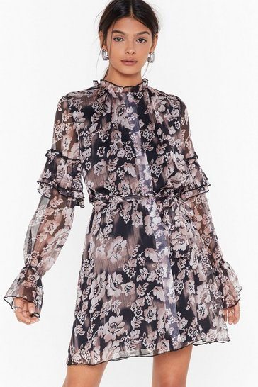 Black We've Grow Regrets Floral Mini Dress