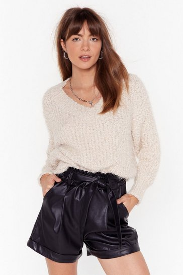 Beige Knit Right In V-Neck Sweater