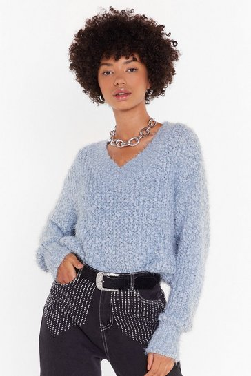 Womens Blue Knit Right In V-Neck Sweater
